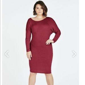 Asymmetrical Long Sleeve Knit Dress (oxblood)